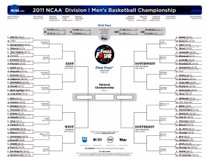 2011 NCAA Mens Bracket Update after March 26, 2011 Elite 8 Round Games